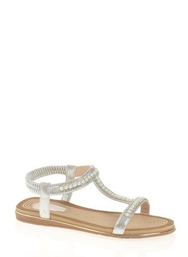 D by Divarese Taşlı Sandalet Beyaz